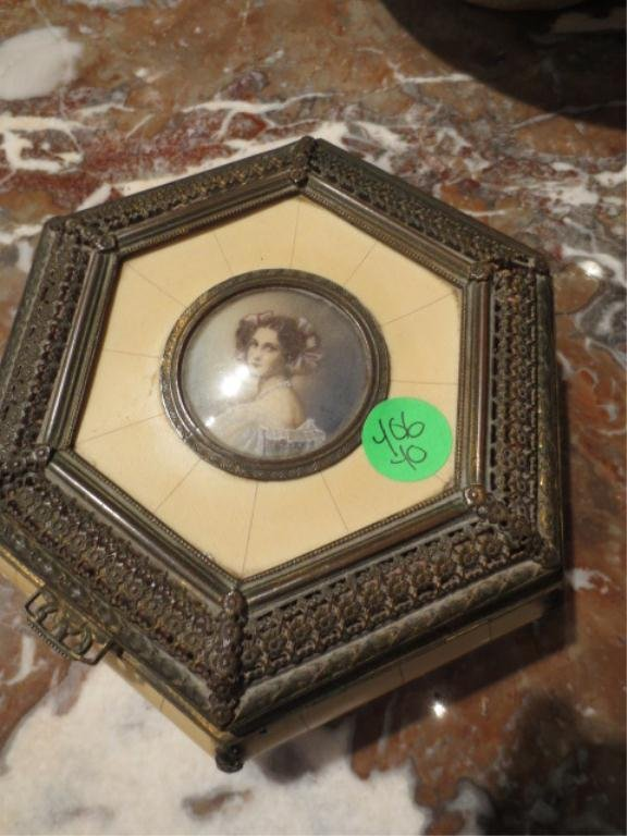 ANTIQUE IVORY BOX WITH METAL ORMULU & PAINTED PORTRAIT,