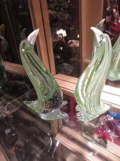 TWO MURANO STYLE ART GLASS BIRD SCULPTURES, PALE GREEN,