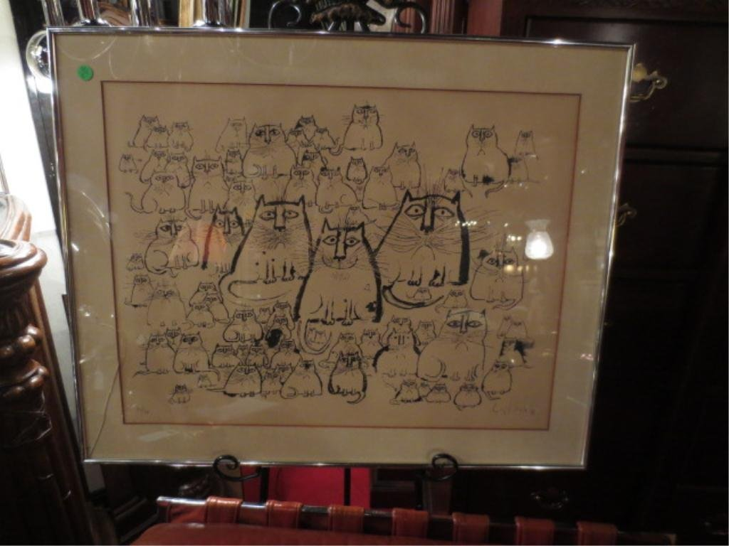 RONALD SEARLE LIMITED EDITION LITHOGRAPH, CATS, PENCIL