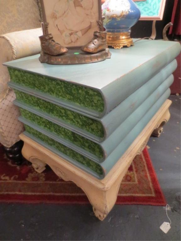 WOOD TABLE/ CHEST, STACKED BOOK MOTIF, TOP FLIPS OPEN F