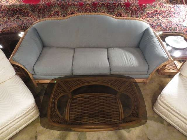 CONTEMPORARY RATTAN SOFA, LIGHT BLUE UPHOLSTERY, EXCELL