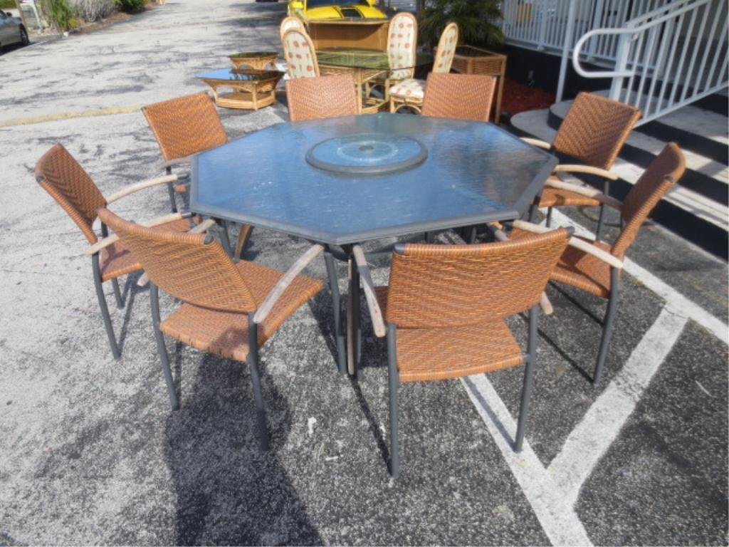 OCTAGONAL PATIO TABLE WITH 8 CHAIRS, RATTAN-LOOK COMPOS