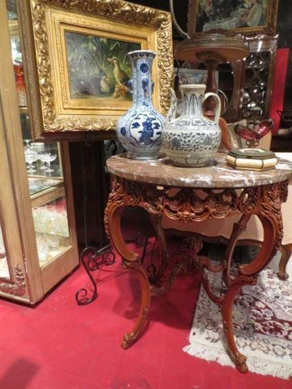 ORNATE CARVED WOOD TABLE, MARBLE TOP, EXCELLENT CONDITI