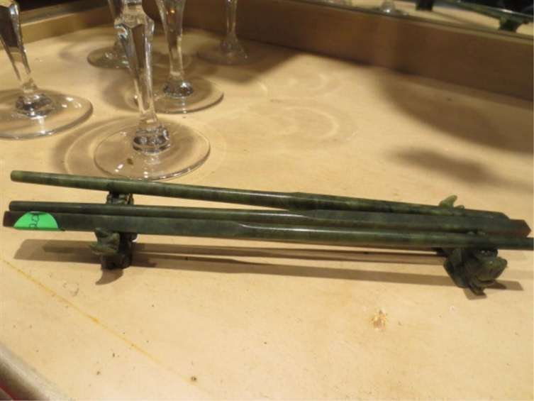 CARVED STONE CHOPSTICKS WITH HOLDERS, INCLUDES 3 CHOPST