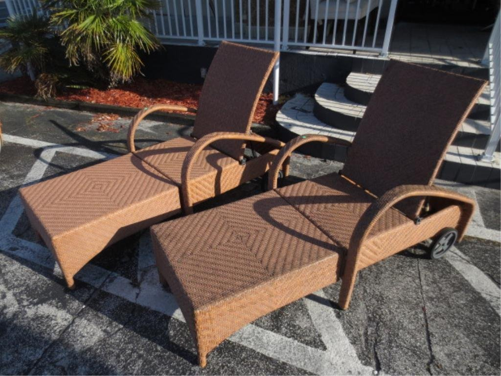 PAIR CONTEMPORARY RECLINERS, RATTAN LOOK ALL WEATHER CO