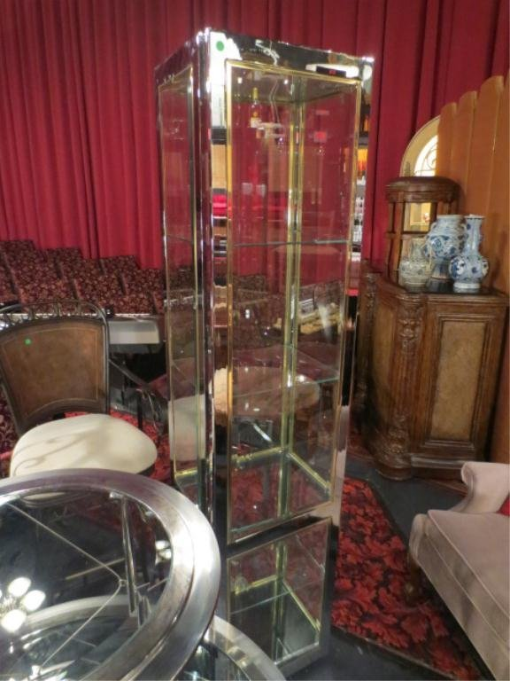 LIGHTED CHROME AND GLASS DISPLAY CABINET, GLASS SHELVES