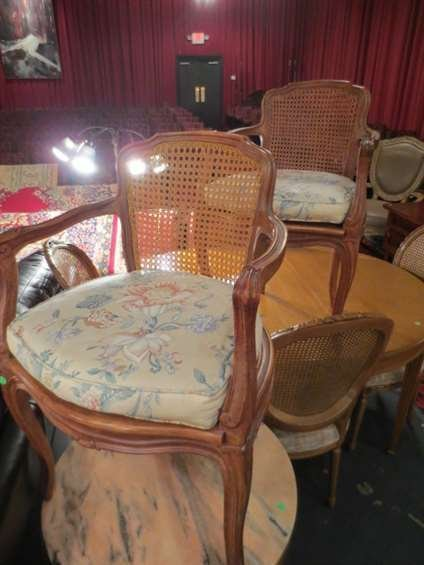 PAIR FRENCH LOUIS XV STYLE FAUTEUIL CHAIRS, CANE BACKS,