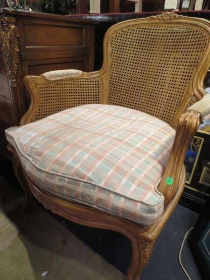 PAIR FRENCH LOUIS XV STYLE BERGERE CHAIRS, CANE BACKS,