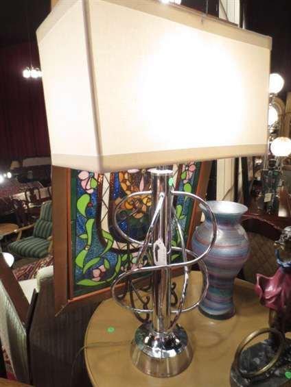 CONTEMPORARY CHROME LAMP, ASYMMETRICAL SPIRAL DESIGN, R