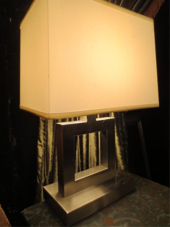 CONTEMPORARY NICKEL FINISH LAMP, RECTANGULAR BASE, SQUA