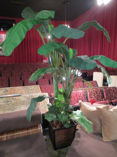 LARGE 8 FT TALL FAUX BANANA TREE IN PLANTER, EXCELLENT