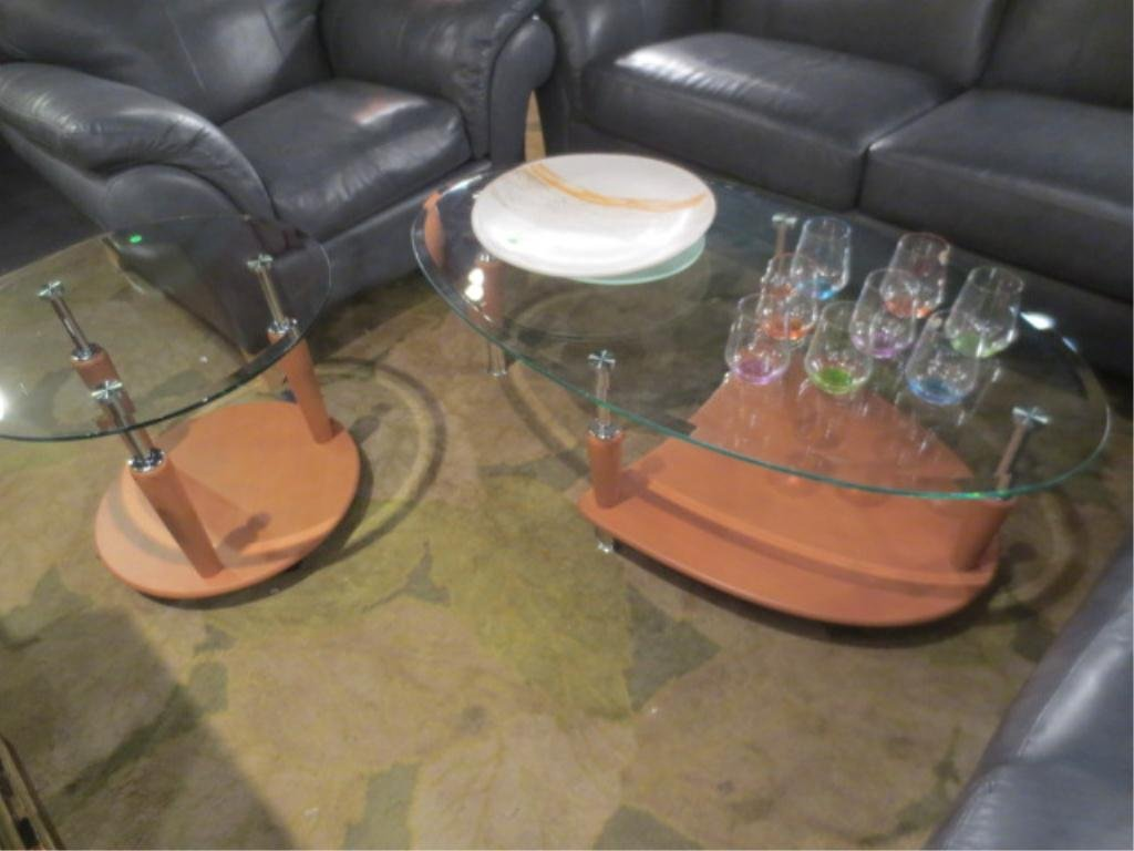 2 PC SET CONTEMPORARY COFFEE AND END TABLE, LIGHT FINIS