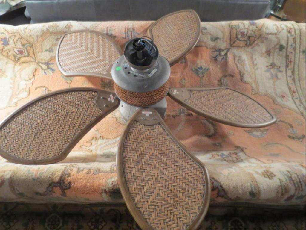 TROPICAL STYLE CEILING FAN, RATTAN PANELS AND ACCENTS,