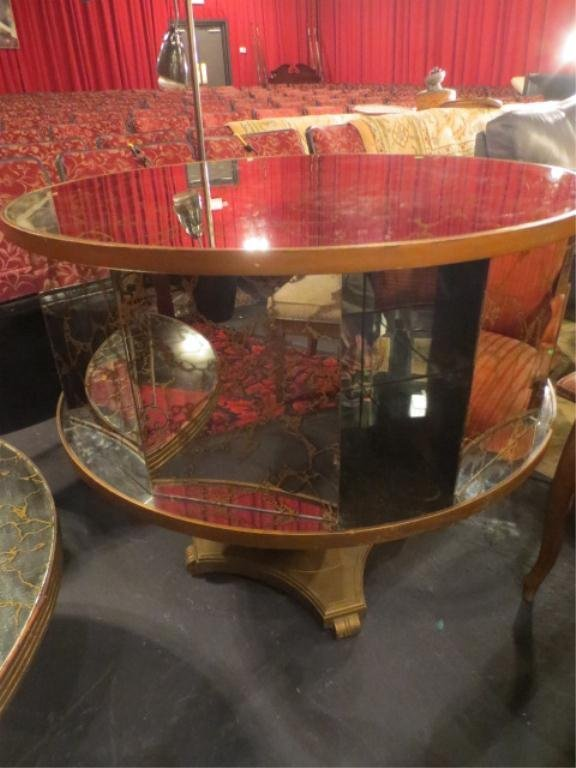 MIDENTURY MIRRORED DRUM TABLE, REVOLVING TOP, GOLD ACCE