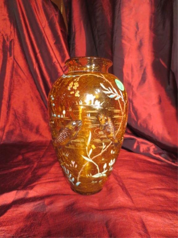 VINTAGE MOSER GLASS VASE WITH 2 APPLIED FISH, PAINTED &