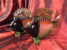 PAIR MURANO STYLE ART GLASS FISH SCULPTURES, DARK FACES