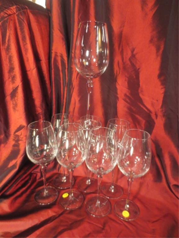 """8 LENOX CRYSTAL WINE GLASSES, APPROX 10""""H"""