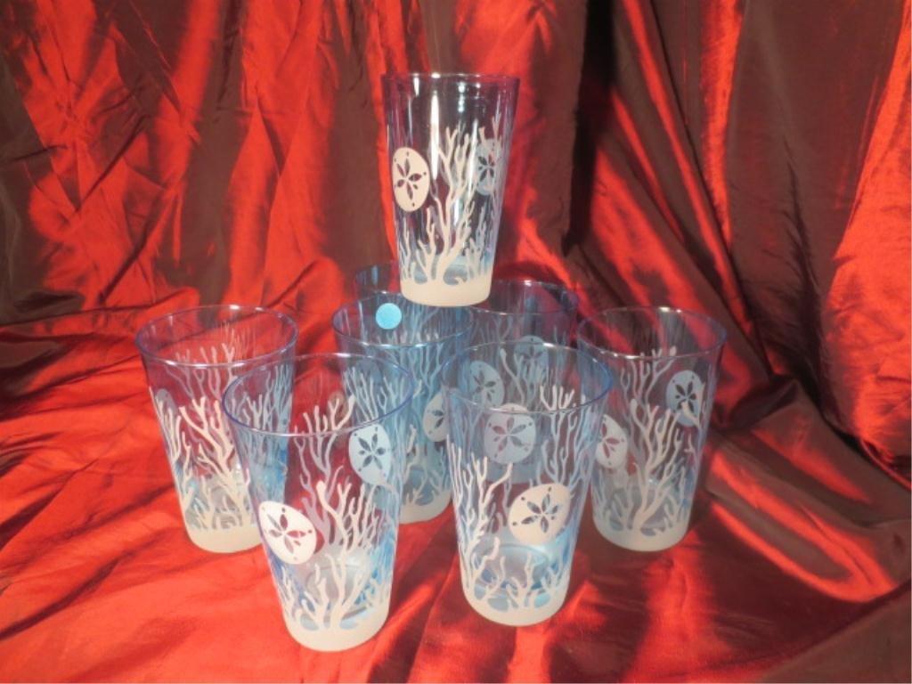 8 BLUE ETCHED CRYSTAL GLASSES, SAND DOLLAR & CORAL DESI