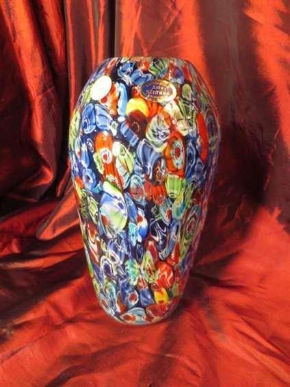 TALL MURANO STYLE ART GLASS VASE, BLUE MULTICOLOR, APPR
