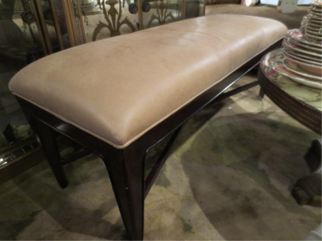 CONTEMPORARY LEATHER BENCH, BEIGE LEATHER, OVERALL GOOD