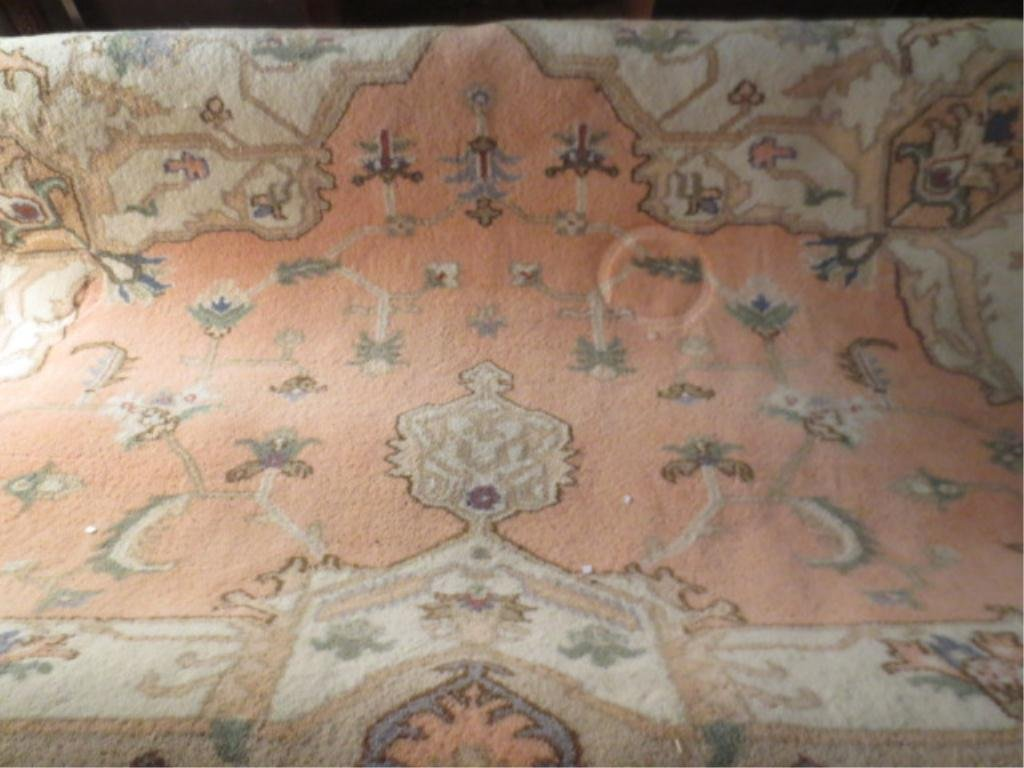 LARGE ORIENTAL STYLE RUG, SALMON AND CREAM, APPROX 9' X
