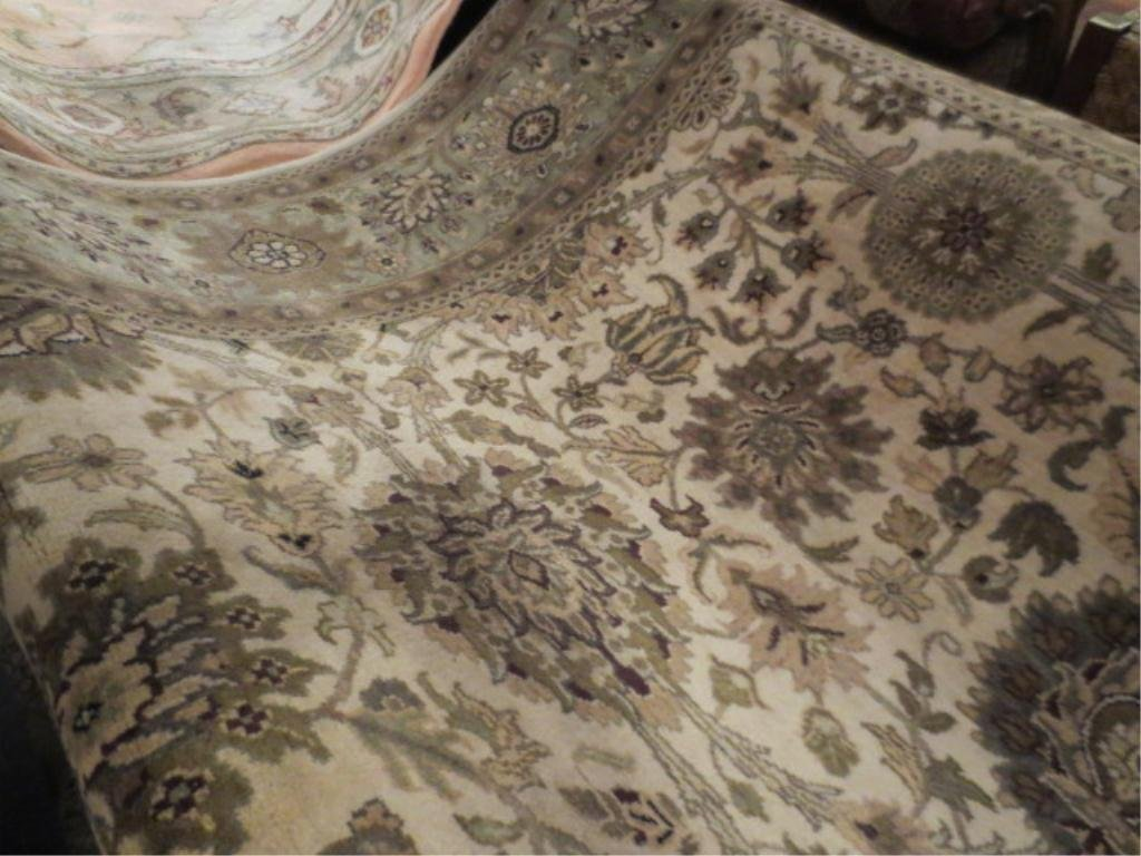 LARGE PERSIAN RUG, CREAM, GOLD, AND GREEN, APPROX 8' X