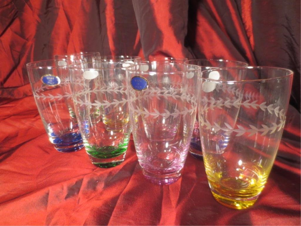 8 CRYSTAL TUMBLERS WITH COLORFUL BASES, WITH MADE IN IT