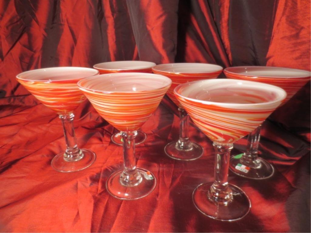 6 ITALIAN ART GLASS MARTINI GLASSES, RED & WHITE SWIRLS