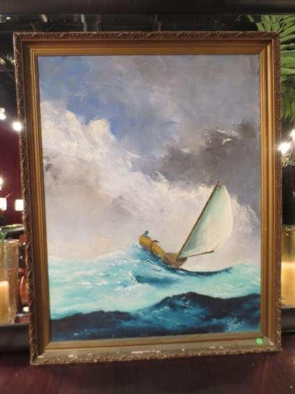 LARGE OIL PAINTING ON CANVAS, SAILBOAT IN A STORM,