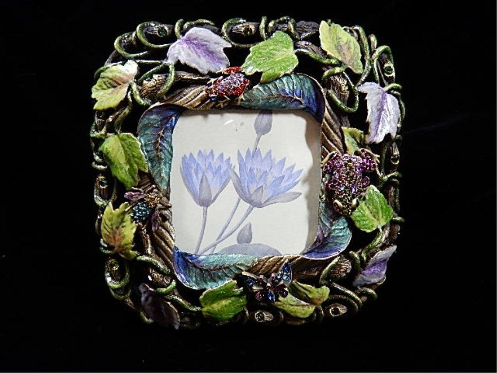 JAY STRONGWATER FRAME, GREEN & PURPLE LEAVES WITH