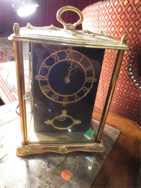 VINTAGE ELECTRIC CARRIAGE CLOCK WITH GLASS CASE, MINOR