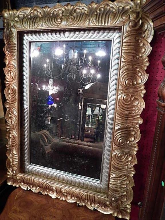CHRISTOPHER GUY MIRROR, ORNATE GOLD AND SILVER GILT