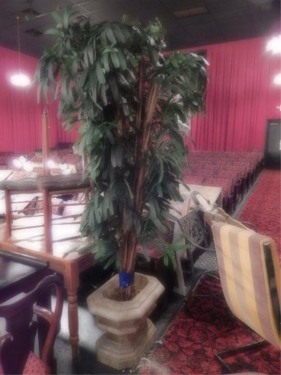 FAUX LADY PALM IN STONE PLANTER, APPROX 7'H