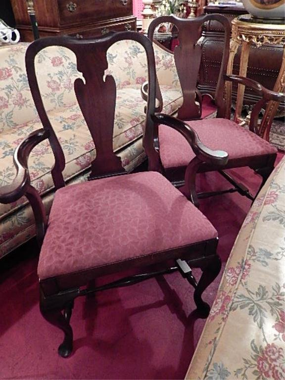 PAIR QUEEN ANNE STYLE ARMCHAIRS, MAHOGANY FRAME,