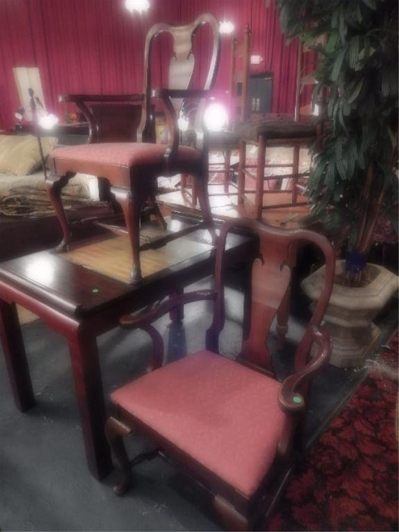 PAIR QUEEN ANNE MAHOGANY ARMCHAIRS, #2 OF TWO PAIRS