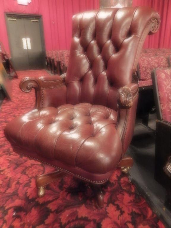 LEATHER EXECUTIVE CHAIR, TUFTED BROWN LEATHER, ON