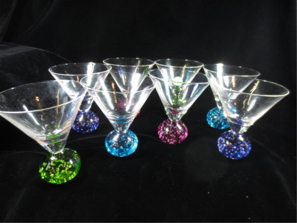 8 MARTINI GLASSES WITH COLORFUL BULB BASES, APPROX