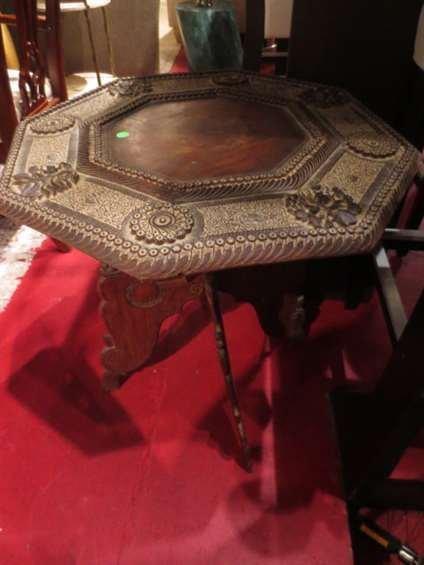 CARVED WOOD OCTAGONAL SIDE TABLE, FOLDING BASE,