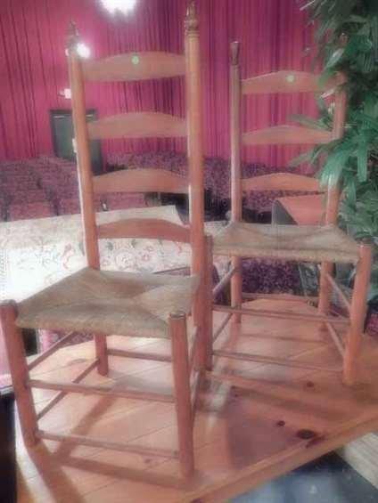 2 PC LOT ANTIQUE LADDERBACK CHAIRS, RUSH SEATS, EACH