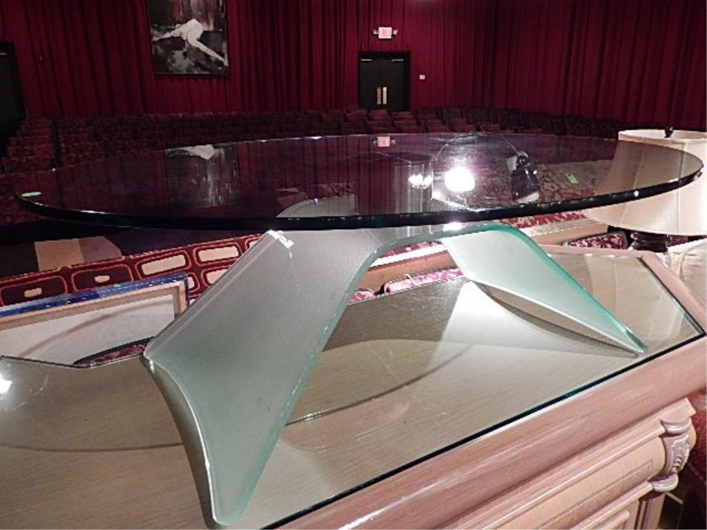 MODERN DESIGN OVAL COFFEE TABLE, FLAIRED FROSTED GLASS