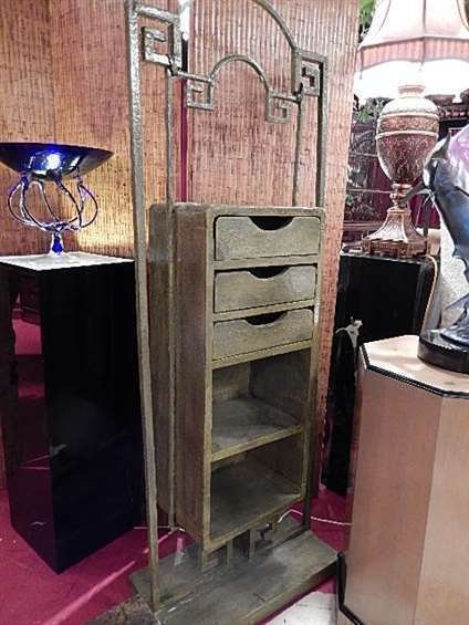 ASIAN MOTIF CHEST, CENTER DRAWERS AND SHELVES HANG FROM
