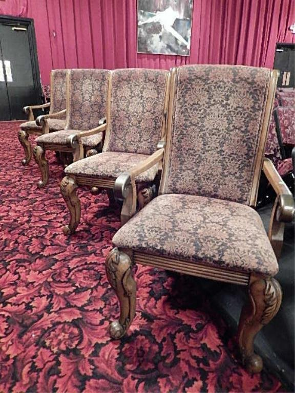 4 PC SET UPHOLSTERED ARMCHAIRS, MEDIUM FINISH CARVED