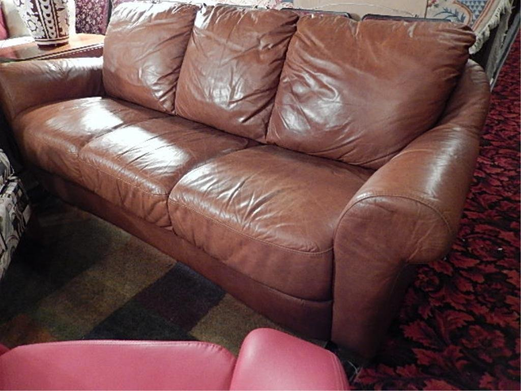 LEATHER SOFA, LIGHTLY DISTRESSED BROWN LEATHER, ROLL