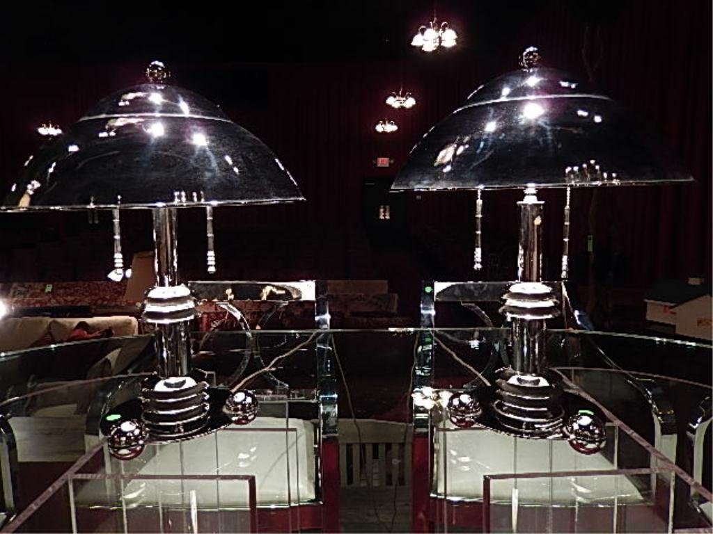 PAIR RARE JAY SPECTRE LAMPS FOR PAUL HANSON, CHROME