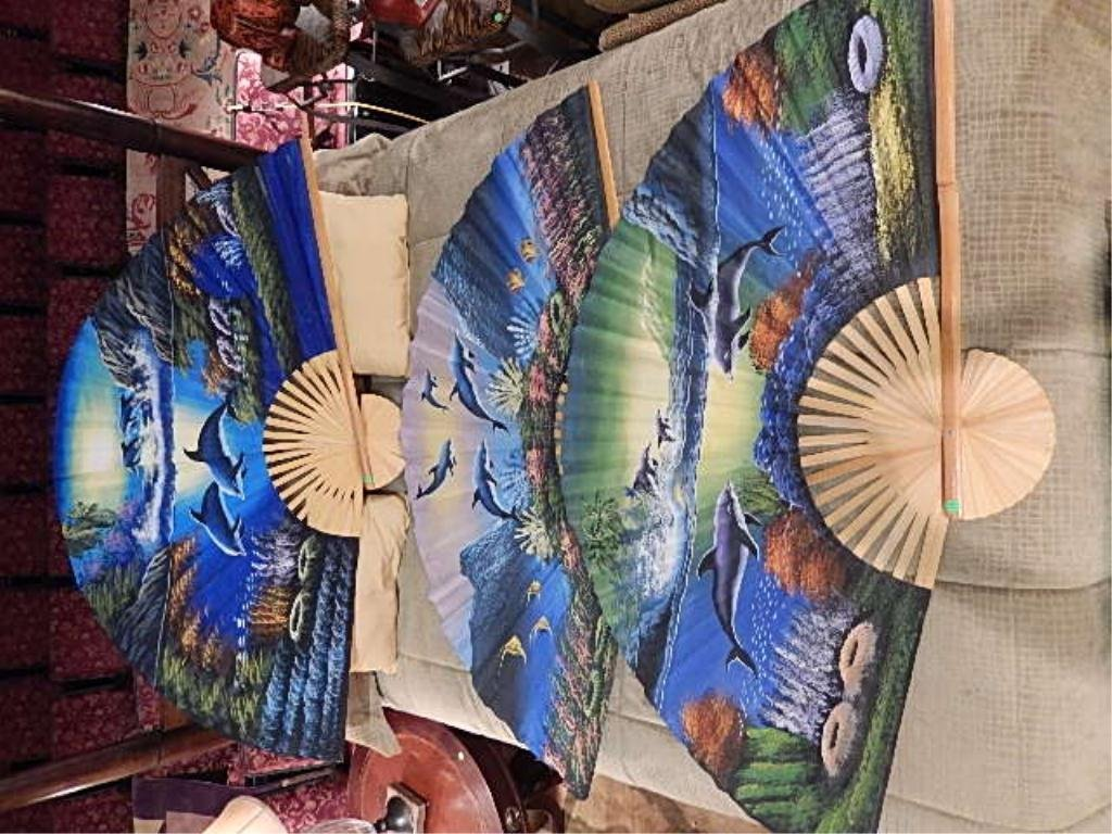 3 PC SET LARGE PAINTED FANS, MARINE LIFE SCENES, APPROX