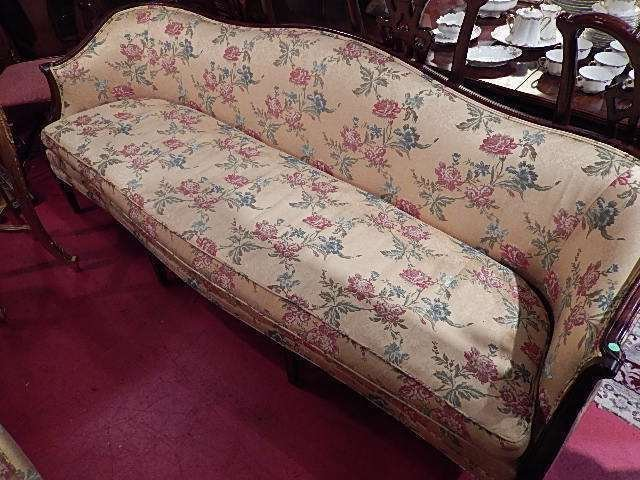 """MAHOGANY SOFA BY HICKORY, YELLOW FLORAL UPOLSTERY, 85""""W"""