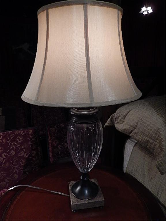 """URN STYLE GLASS TABLE LAMP, APPROX 25""""H"""