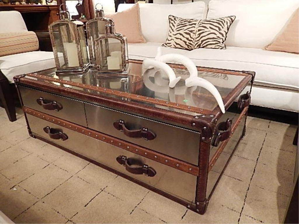 metal clad steamer trunk style coffee table,
