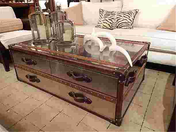 Polished Metal Clad Steamer Trunk Style Coffee Table