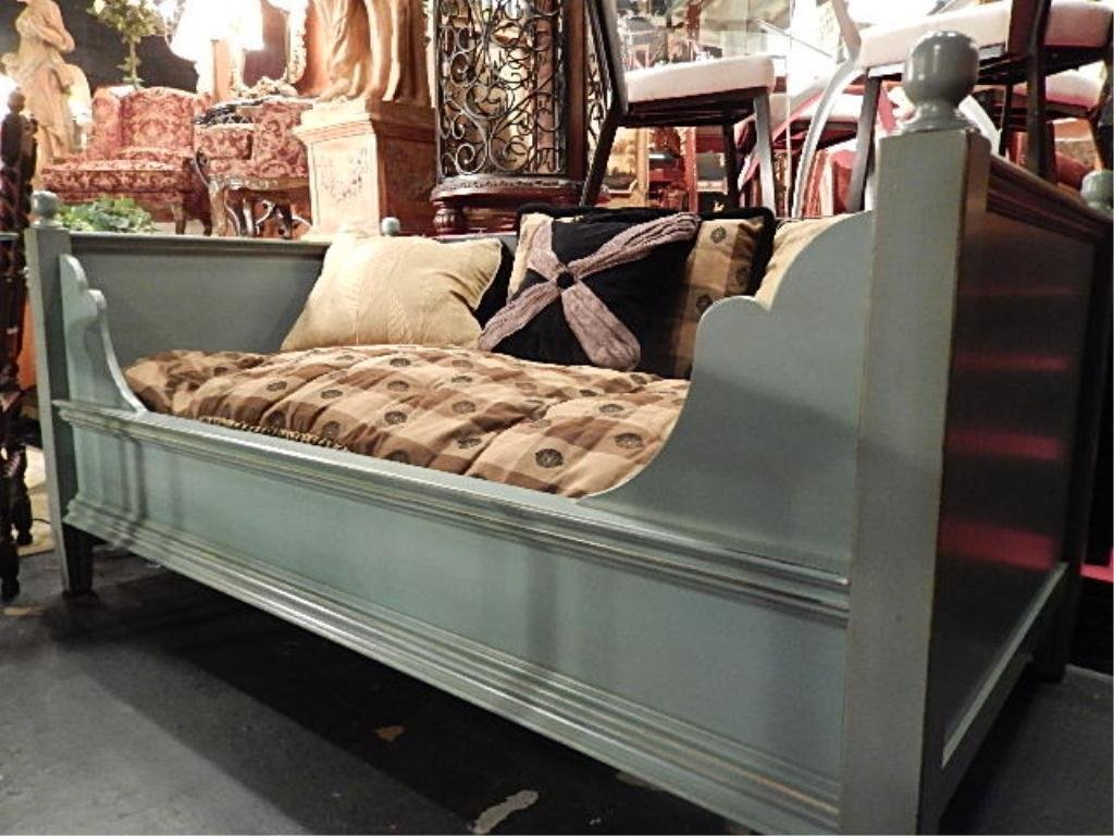 POTTERY BARN DAY BED, WOOD FRAME WITH PALE GREEN
